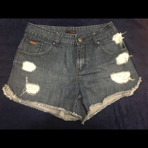 Jean shorts size 27 with ripped in front